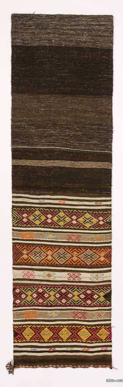 Brown, Multicolor Vintage Turkish Kilim Runner - 2'8'' x 9'4'' (32 in. x 112 in.)