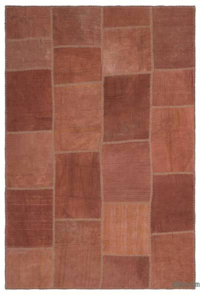 Brown Over-dyed Kilim Patchwork Rug - 5'1'' x 7'7'' (61 in. x 91 in.)