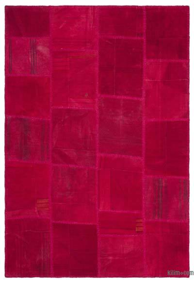 Red Over-dyed Kilim Patchwork Rug - 5'2'' x 7'8'' (62 in. x 92 in.)