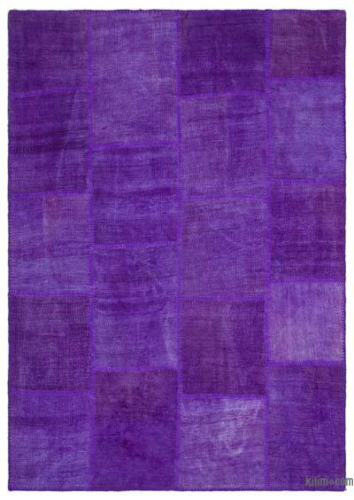Purple Over-dyed Kilim Patchwork Rug - 5'3'' x 7'7'' (63 in. x 91 in.)