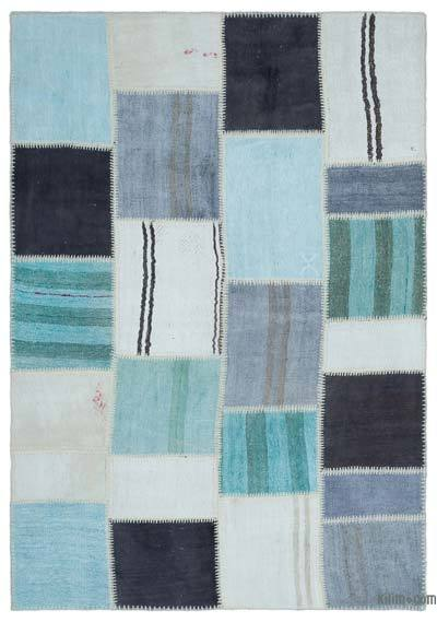 Multicolor Over-dyed Kilim Patchwork Rug - 5'3'' x 7'7'' (63 in. x 91 in.)