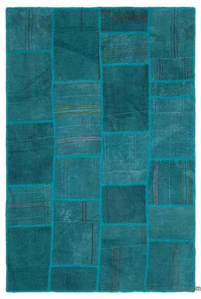 Turquoise Over-dyed Kilim Patchwork Rug - 4'11'' x 7'5'' (59 in. x 89 in.)