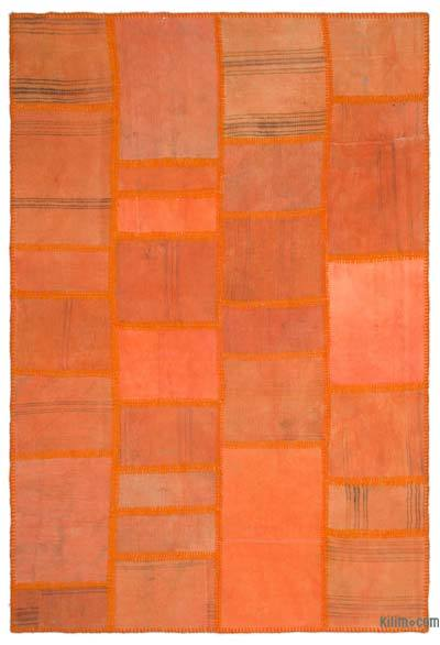 Orange Over-dyed Kilim Patchwork Rug - 5'2'' x 7'7'' (62 in. x 91 in.)
