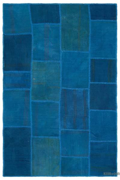 Blue Over-dyed Kilim Patchwork Rug - 5'1'' x 7'7'' (61 in. x 91 in.)