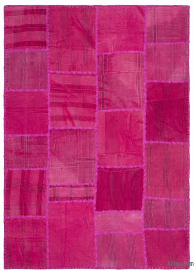 Fuchsia Over-dyed Kilim Patchwork Rug - 5'4'' x 7'7'' (64 in. x 91 in.)