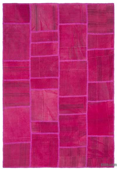 Fuchsia Over-dyed Kilim Patchwork Rug - 5'1'' x 7'7'' (61 in. x 91 in.)