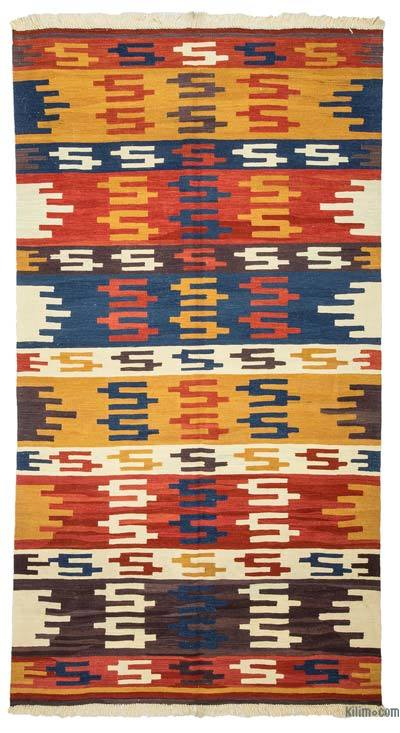 "New Handwoven Turkish Kilim Rug - 4'7"" x 8'6"" (55 in. x 102 in.)"