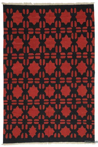 Red, Black New Turkish Kilim Rug