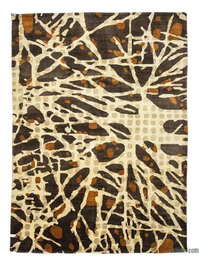 Brown, Beige New Turkish Pile Rug - 6'8'' x 9'1'' (80 in. x 109 in.)
