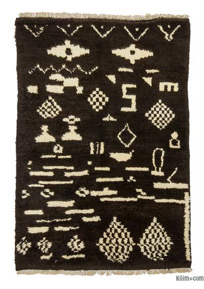 Brown New Turkish Tulu Rug - 3'10'' x 5'7'' (46 in. x 67 in.)