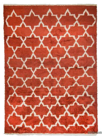Red, Beige New Turkish Tulu Rug - 8'8'' x 11'10'' (104 in. x 142 in.)