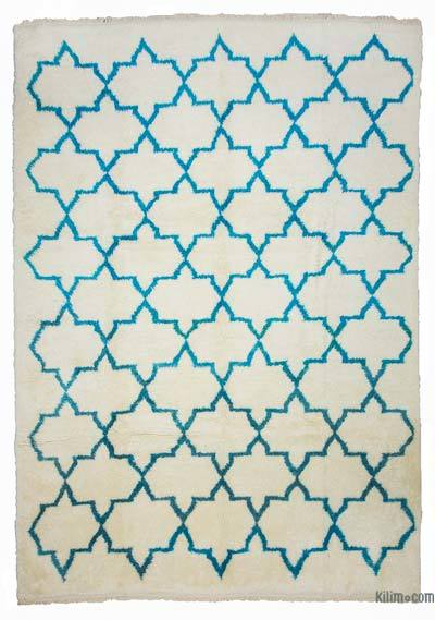 Beige, Turquoise New Turkish Tulu Rug - 8'6'' x 12'2'' (102 in. x 146 in.)