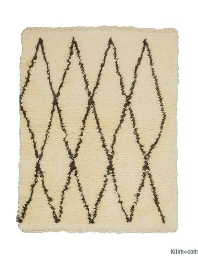 Beige, Brown New Turkish Tulu Rug - 3'10'' x 4'9'' (46 in. x 57 in.)