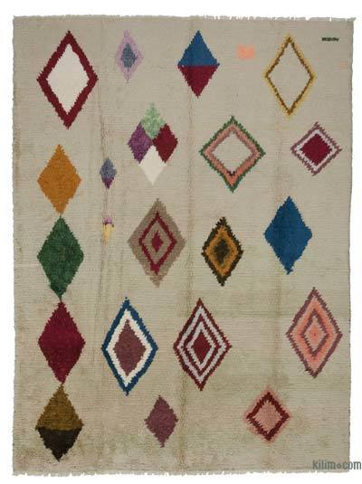 Beige, Multicolor New Turkish Tulu Rug - 8'11'' x 12'1'' (107 in. x 145 in.)