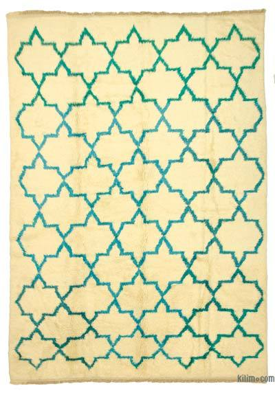 Beige, Turquoise New Turkish Tulu Rug - 8'8'' x 12'2'' (104 in. x 146 in.)