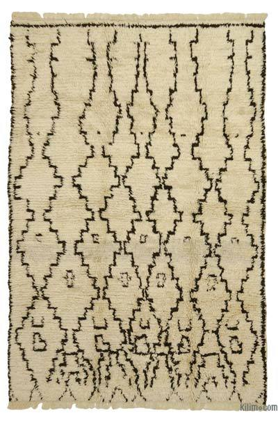 Beige, Brown New Turkish Tulu Rug - 6'1'' x 9'2'' (73 in. x 110 in.)