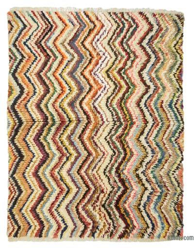 Multicolor New Turkish Tulu Rug - 5'10'' x 7'5'' (70 in. x 89 in.)