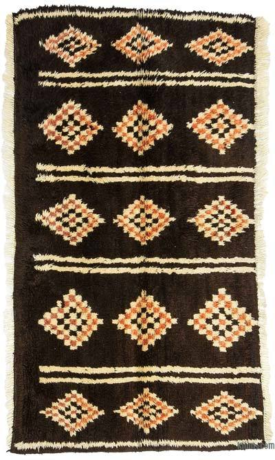 Brown New Turkish Tulu Rug - 3'10'' x 7'1'' (46 in. x 85 in.)