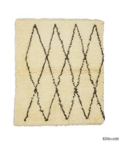 Beige, Brown New Turkish Tulu Rug - 4' x 4'9'' (48 in. x 57 in.)