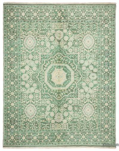 Green New Turkish Rug - 5'7'' x 6'11'' (67 in. x 83 in.)
