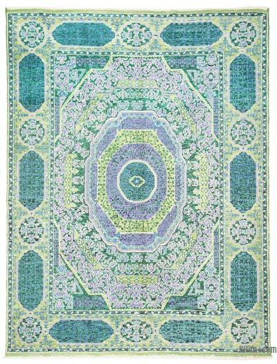 Green, Turquoise New Turkish Rug - 5'5'' x 7'3'' (65 in. x 87 in.)