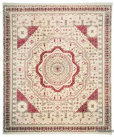 Beige New Turkish Rug - 6'9'' x 7'11'' (81 in. x 95 in.)