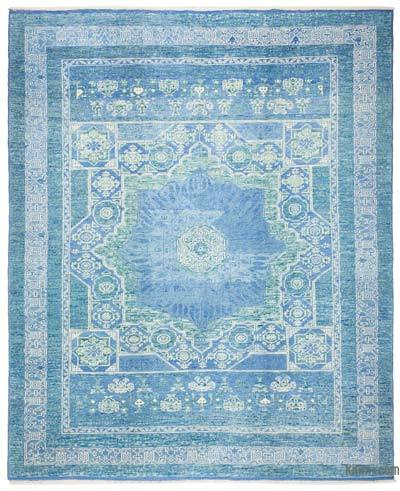 Blue, Turquoise New Turkish Rug - 7'3'' x 8'10'' (87 in. x 106 in.)