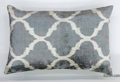 Velvet Ikat Pillow Cover - 2' x 1'4'' (24 in. x 16 in.)