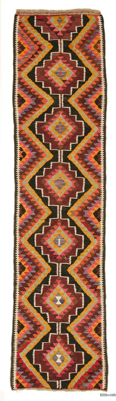"Vintage Turkish Kilim Runner - 2'10"" x 11'6"" (34 in. x 138 in.)"