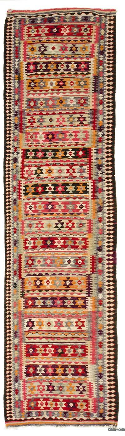 Multicolor Vintage Turkish Kilim Runner - 3'4'' x 13'1'' (40 in. x 157 in.)