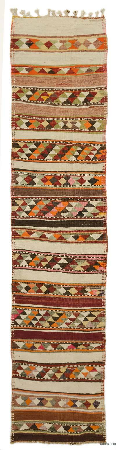 "Vintage Turkish Kilim Runner - 2'8"" x 12' (32 in. x 144 in.)"