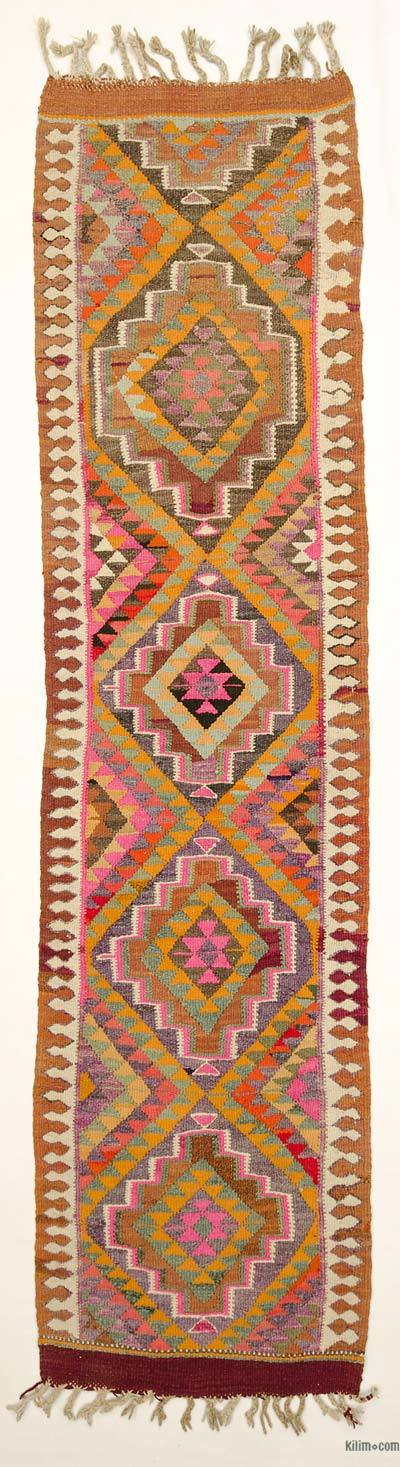 Multicolor Vintage Turkish Kilim Runner - 3' x 11'9'' (36 in. x 141 in.)