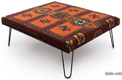 Kilim Ottoman with Hairpin Legs