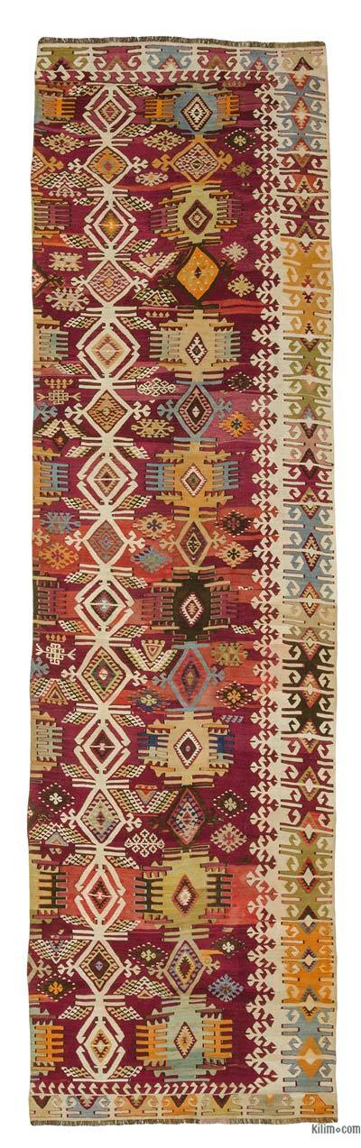 Red, Multicolor Antique Reyhanli Kilim Runner