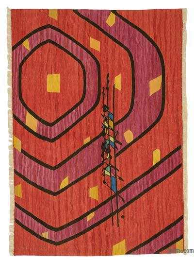 "New Handwoven Turkish Kilim Rug - 4'7"" x 6'6"" (55 in. x 78 in.)"