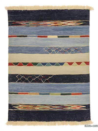 Blue, Light Blue New Turkish Kilim Rug