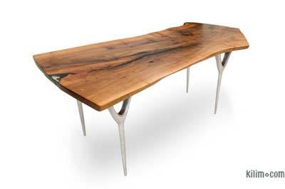 Walnut Slab Table with Cast Aluminium Legs