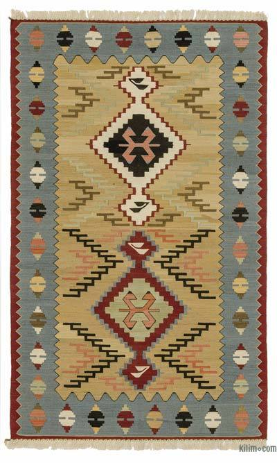 Beige, Light Blue New Turkish Kilim Rug