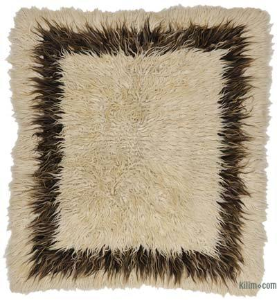 Beige, Brown Vintage Turkish Tulu Rug
