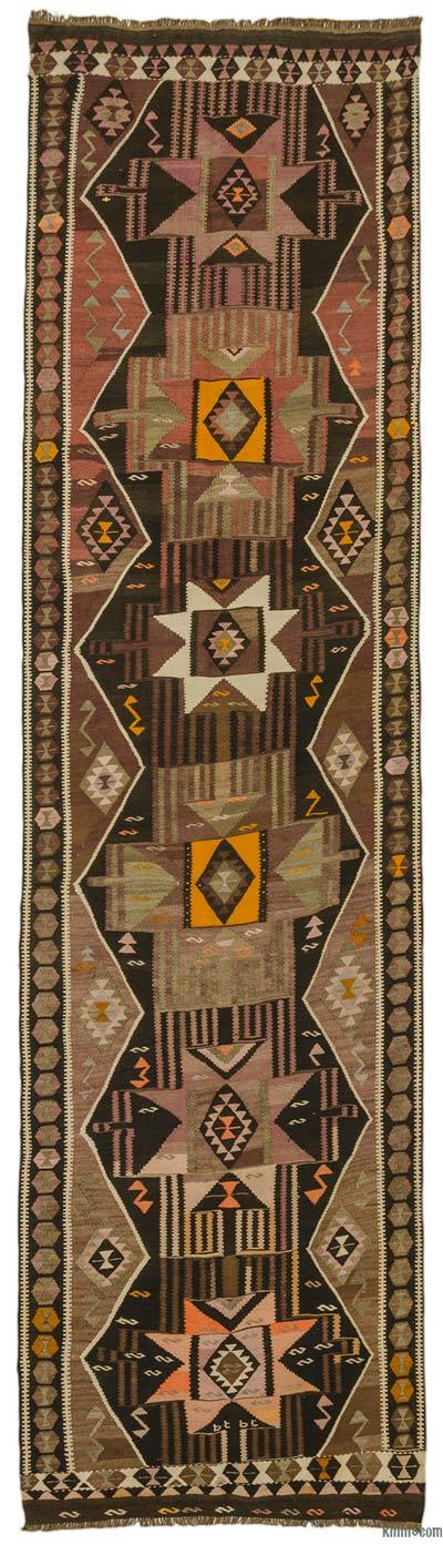 Brown, Red Vintage Kars Kilim Runner
