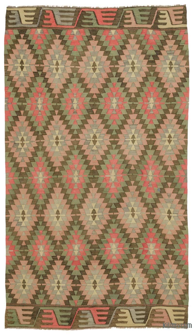 K0034042 Pink Green Vintage Mihalic Kilim Rug