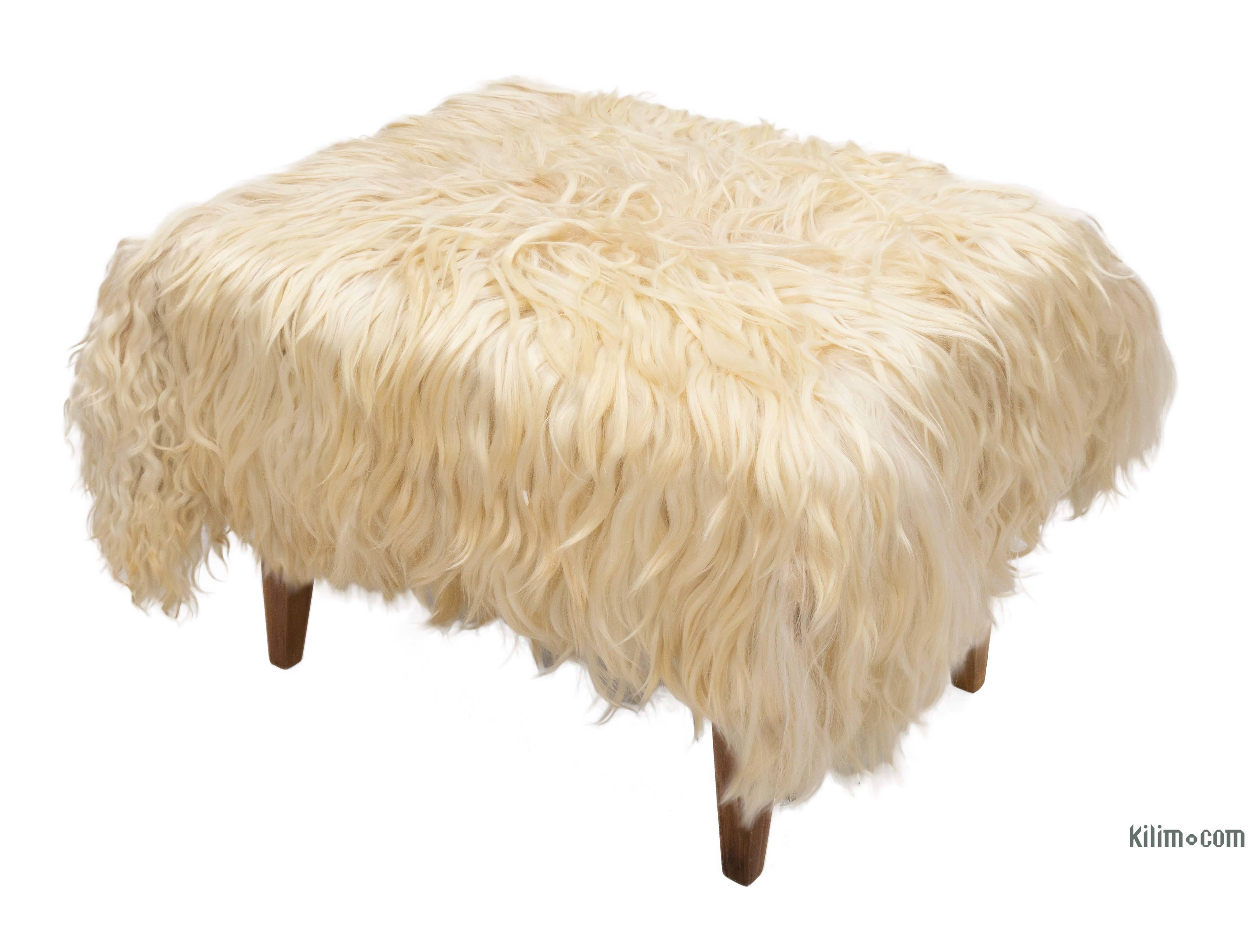 K0034056 Angora Goat Hide Ottoman With Hairpin Legs Kilimcom The