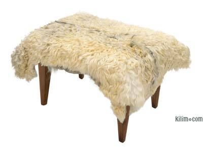 Angora Goat Hide Ottoman with Hairpin Legs