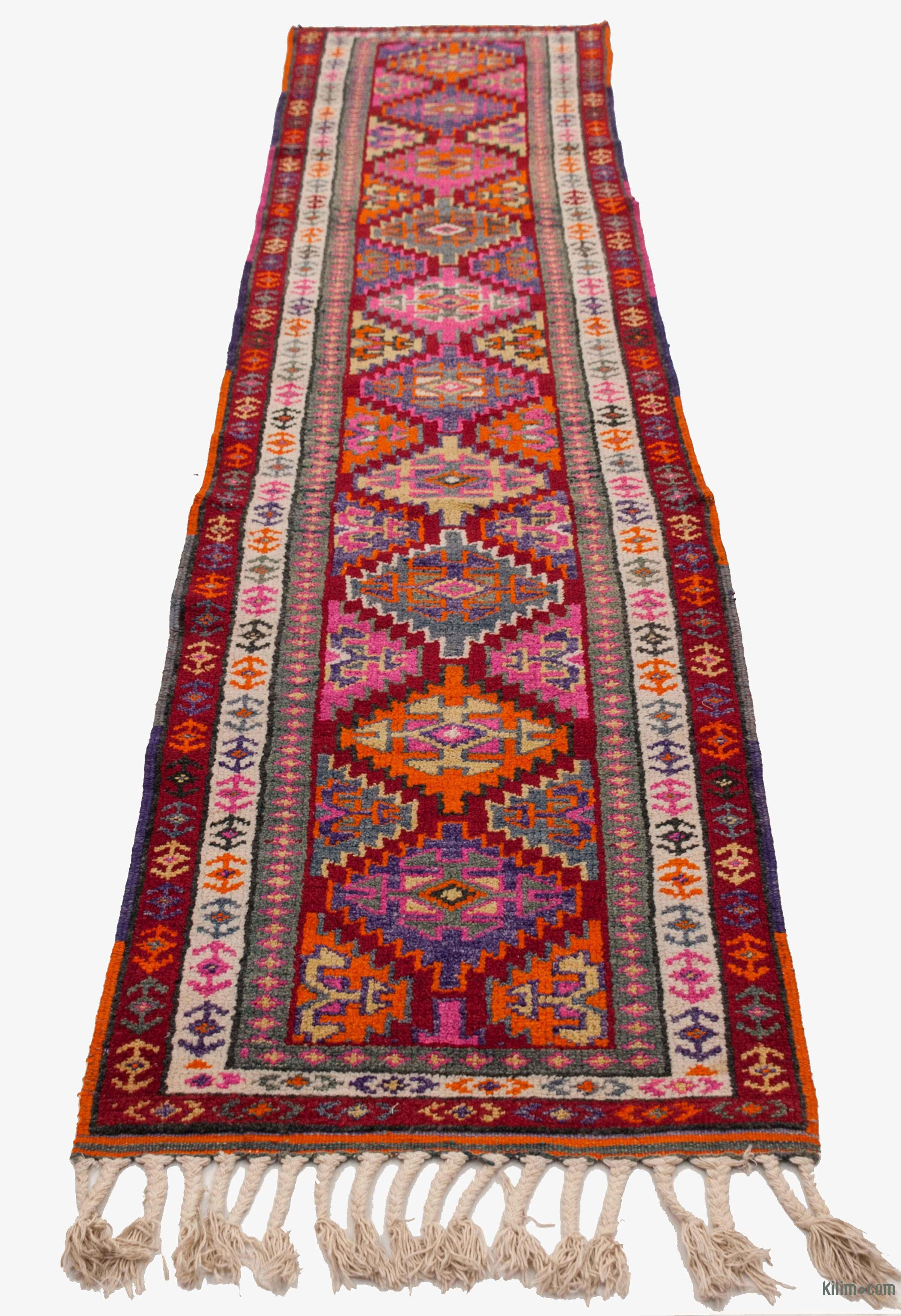 K0034093 Multicolor Vintage Turkish Runner Rug