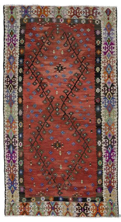 Red Vintage Sharkoy Kilim Rug
