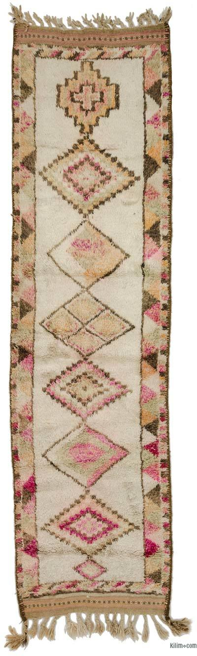 Beige Vintage Turkish Runner Rug