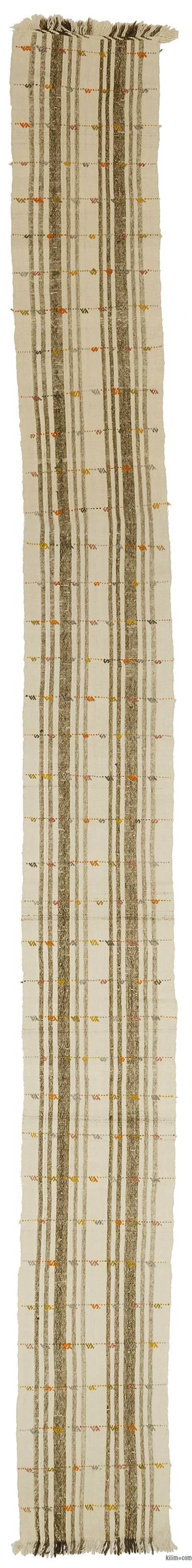 Beige, Brown Vintage Turkish Flatweave Runner