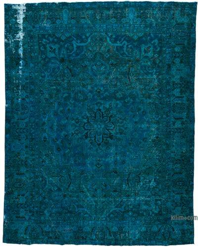 Turquoise Over-dyed Vintage Rug - 9'4'' x 12' (112 in. x 144 in.)