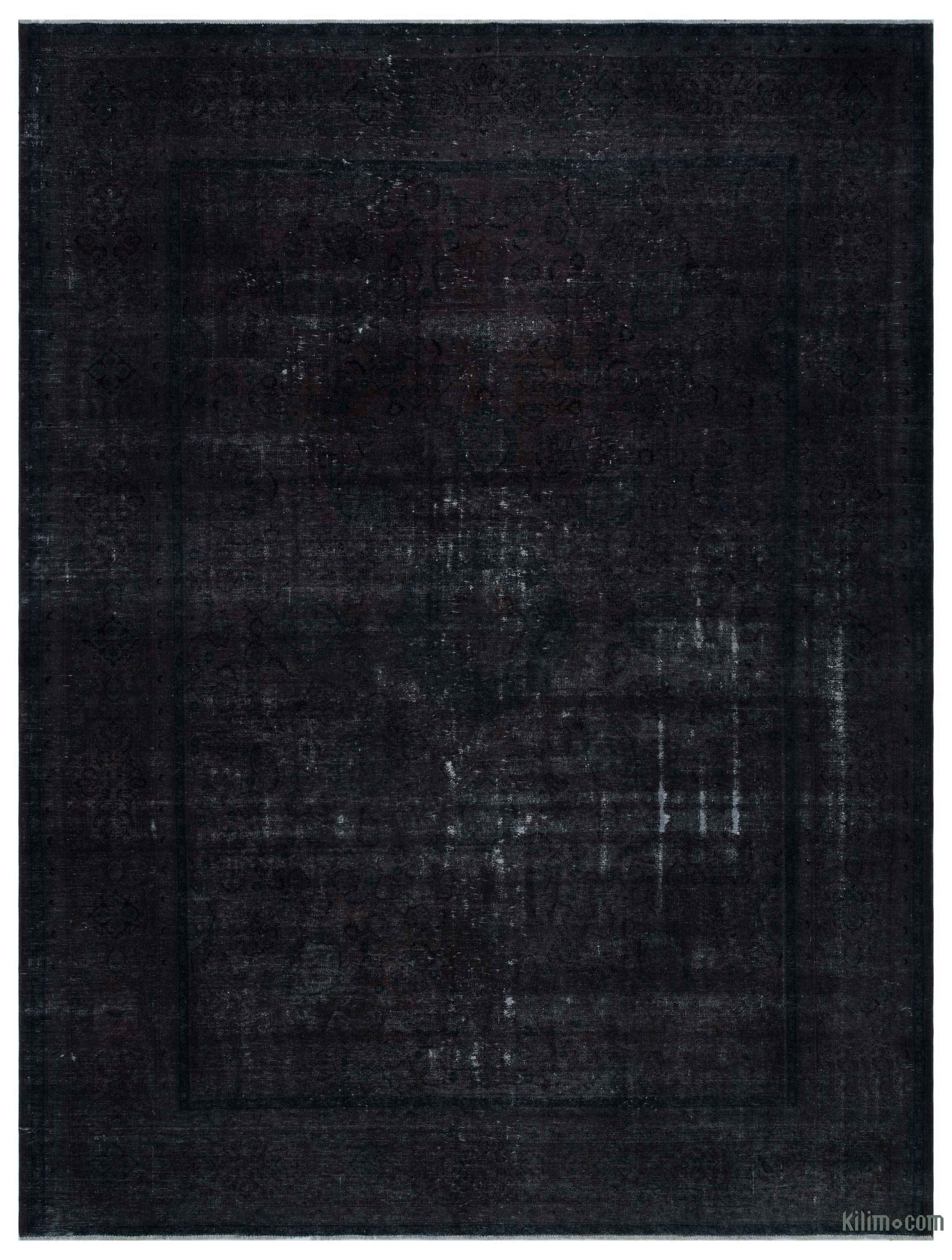 Black Over Dyed Vintage Rug 9 7 X 12 8 115 In X 152 In