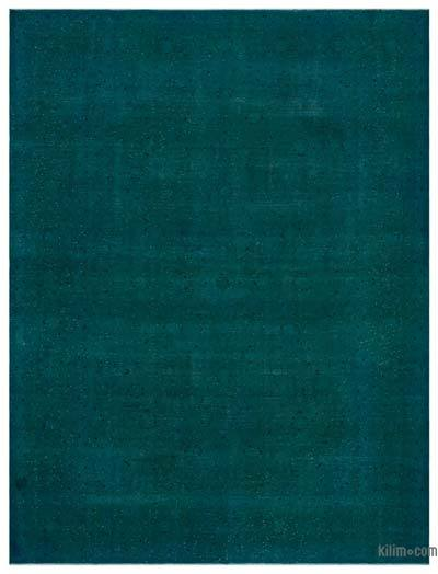 Turquoise Over-dyed Vintage Rug - 9'7'' x 12'9'' (115 in. x 153 in.)